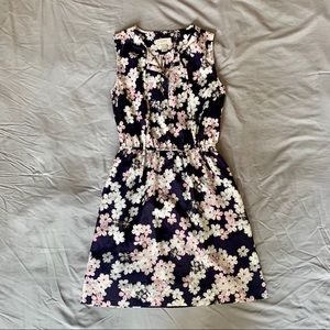 Loft Floral Tie Neck Sleeveless Dress
